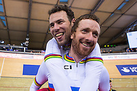 Picture by Alex Whitehead/SWpix.com - 06/03/2016 - Cycling - 2016 UCI Track Cycling World Championships, Day 5 - Lee Valley VeloPark, London, England - Great Britain's Sir Bradley Wiggins and Mark Cavendish celebrate winning Gold in the Madison.