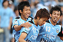 (L-R) Kengo Nakamura, Yu Kobayashi, Koji Yamase (Frontale), MAY 15th, 2011 - Football : Yu Kobayashi of Kawasaki Frontale celebrates with his teammates Kengo Nakamura and Koji Yamase after scoring their third goal during the 2011 J.League Division 1 match between Kawasaki Frontale 3-2 Kashima Antlers at Todoroki Stadium in Kanagawa, Japan. (Photo by Kenzaburo Matsuoka/AFLO).