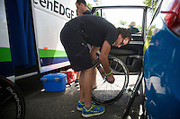 getting the spare wheels ready for the race<br /> <br /> 2014 Tour de France<br /> stage 3: Camebridge-London (155km)