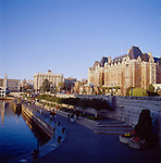 The Empress Hotel dominates the Waterfront Promenade in downtown Victoria, British Columbia on Vancouver Island, B.C.