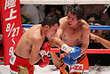 (L to R)  Hugo Cazares (Mex), Tomonobu Shimizu (JPN), AUGUST 31, 2011 - Boxing : Tomonobu Shimizu of Japan in action against Hugo Cazares of Mexico during the ..WBA Super fly weight title bout at Nippon Budokan, Tokyo, Japan. Tomonobu Shimizu of Japan won the fight on points after twelve rounds. (Photo by Yusuke Nakanishi/AFLO SPORT) [1090]