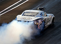 Sep 2, 2016; Clermont, IN, USA; NHRA pro mod driver Danny Rowe does a burnout during qualifying for the US Nationals at Lucas Oil Raceway. Mandatory Credit: Mark J. Rebilas-USA TODAY Sports