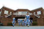 04 October 2016: North Carolina's Cam Lindley (5) and David October (ENG) (11) lead their teammates onto the field before the game. The University of North Carolina Tar Heels hosted the UNC Wilmington Seahawks at Fetzer Field in Chapel Hill, North Carolina in a 2016 NCAA Division I Men's Soccer match. UNC won the game 1-0.