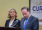 Uniondale, New York, USA. January 30, 2017. At left, Nassau County Legislator LAURA CURRAN (D-Baldwin), 48, candidate for Nassau County Executive, receives endorsement from Democratic Party leaders. A primary is expected. Speaking at right, JAY S. JACOBS, the N. C. Democratic Committee Chairman, made the announcement backing Curren for County Exec. Curran is in her second term as Nassau County Legislator for 5th Legislative District.