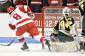 Ben Rosen (BU - 8), Rob Madore (Vermont - 29) - The visiting University of Vermont Catamounts tied the Boston University Terriers 3-3 in the opening game of their weekend series at Agganis Arena in Boston, Massachusetts, on Friday, February 25, 2011.