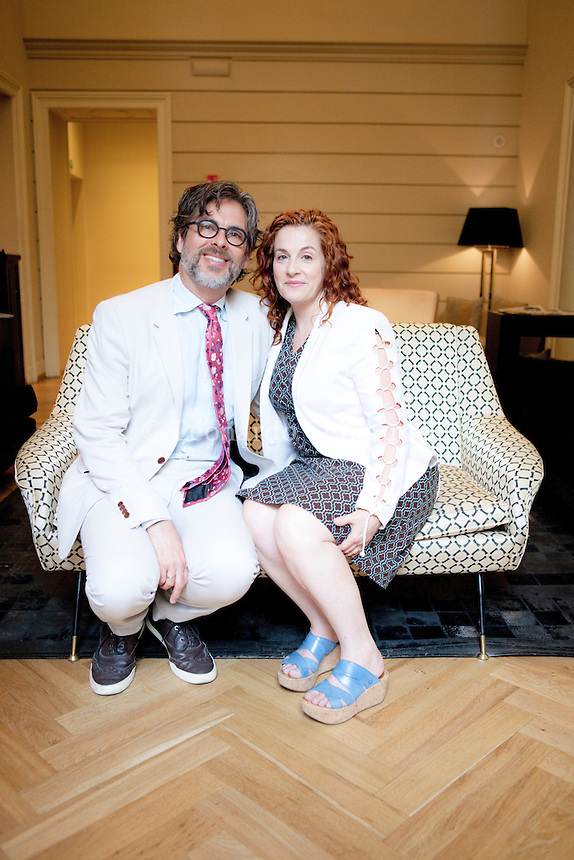 """Ayelet Waldman (born December 11, 1964) is a novelist and essayist who was formerly a lawyer. She is noted for her self-revelatory essays, and for her writing (both fiction and non-fiction) about the changing expectations of motherhood. Michael Chabon, born May 24, 1963) is an American author and """"one of the most celebrated writers of his generation. Ayelet Waldman she is wife the Michael Chabon. Milan, 25 june 2013. © Leonardo Cendamo"""