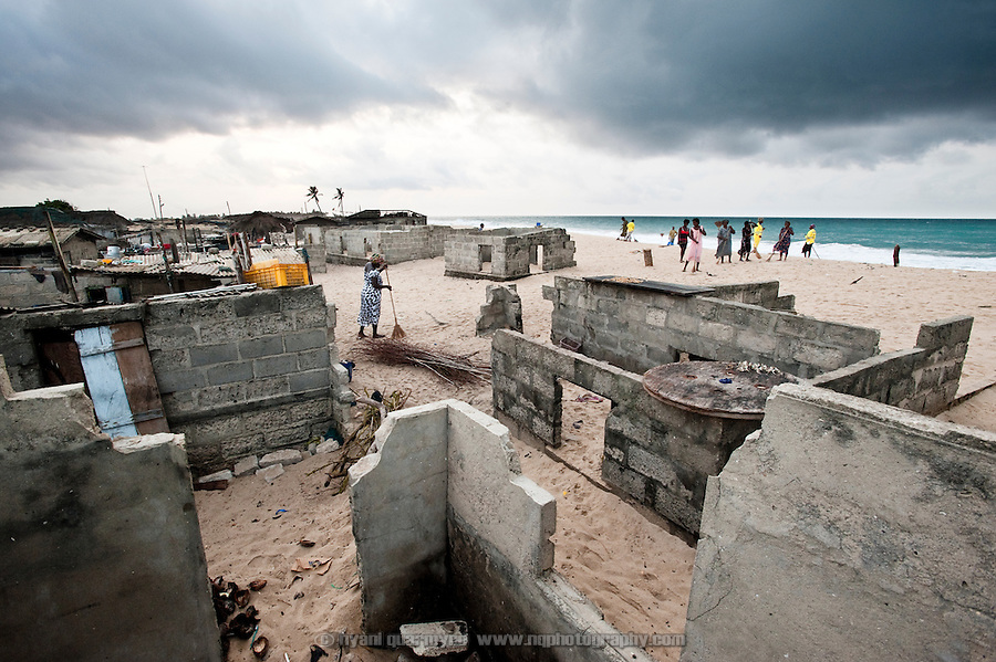 &quot;We were once three miles from the sea.&quot;<br /> <br /> The fishing village of Totope, near Ada, Ghana, pictured on 9 March 2010, is disappearing as the encroaching sea and worsening coastal erosion bury villagers' homes in sand. Trapped between the sea and a lagoon, the village has nowhere to go.