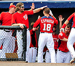 1 March 2011: Washington Nationals' infielder Danny Espinosa returns to the dugout after hitting a 2-run homer during a Spring Training game against the New York Mets at Space Coast Stadium in Viera, Florida. The Nationals defeated the Mets 5-3 in Grapefruit League action. Mandatory Credit: Ed Wolfstein Photo
