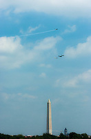A Vought F4U Corsair leaves a Curtiss P-40 Warhawk, a Grumman TBM Avenger, and a North American P-51 Mustang while performing the Missing Man formation during the Arsenal of Democracy flyover.