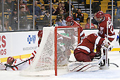 Sahir Gill (BU - 28), Wade Megan (BU - 18), Michael Del Mauro (Harvard - 13), Dan Ford (Harvard - 5), Ryan Carroll (Harvard - 35), Chris Huxley (Harvard - 28) - The Harvard University Crimson defeated the Boston University Terriers 5-4 in the 2011 Beanpot consolation game on Monday, February 14, 2011, at TD Garden in Boston, Massachusetts.