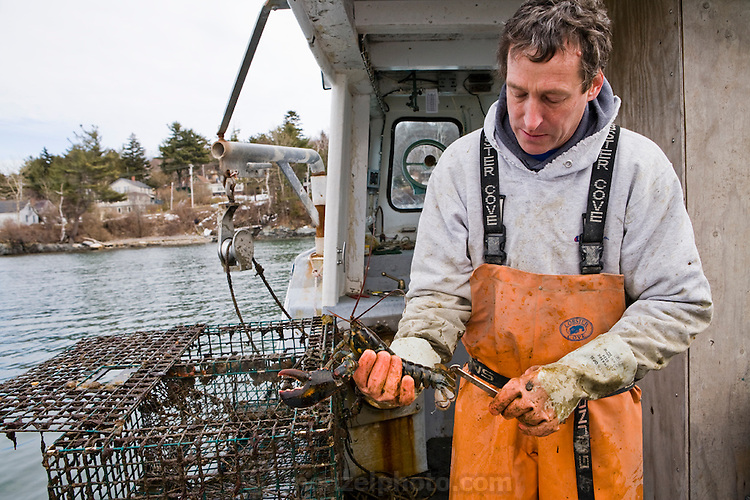 Sam Tucker, lobsterman and fish buyer at Portland Maine Fish Exchange on Great Diamond Island in Portland, Maine, with his lobster boat.  (Samuel Tucker is featured in the book What I Eat: Around the World in 80 Diets.)  MODEL RELEASED