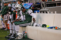 New York Jets, QB, Michael Vick is seen at the bench during their NFL game against Buffalo Bills at MetLife Stadium in New Jersey. 09.05.2014. VIEWpress