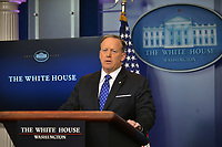 Washington DC, March 22, 2017, USA: Sean Spicer, the White House Press Secretary gives the daily briefing in the White House Press center in Washington DC.  Photo by Patsy Lynch/MediaPunch