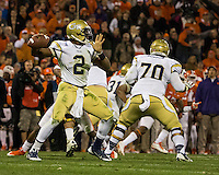 The eighth ranked Clemson Tigers defeat the Georgia Tech Yellow Jackets at Death Valley 55-31 in an ACC matchup.  Georgia Tech Yellow Jackets quarterback Vad Lee (2)