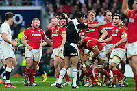 The Wales pack react to a decision from referee Craig Joubert. RBS Six Nations match between England and Wales on March 12, 2016 at Twickenham Stadium in London, England. Photo by: Patrick Khachfe / Onside Images