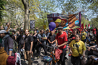 NEW YORK, NY - May 01:  Hundreds of people attend to the the May Day Strike for workers rights at Washington Square Park .Labor unions and civil rights groups staged May Day rallies in several U.S. cities on Monday to denounce President Donald Trump's get-tough policy on immigrationIn New York City on May 01, 2017. Photo by VIEWpress/Maite H. Mateo.