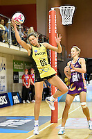 Irene van Dyk in action during the ANZ Championship - Mojo Pulse v Queensland Firebirds at Te Rauparaha Arena, Porirua, New Zealand on Sunday 8 March 2015. <br /> Photo by Masanori Udagawa. <br /> www.photowellington.photoshelter.com.