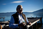 Dr. Geoffrey Schladow, director of the UC Davis Tahoe Environmental Research Center, speaks to reporters about the effort to control the Asian clam population in Lake Tahoe at Camp Richardson, Calif., October 30, 2012.