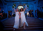 Amber Weiss, 31, and Sharon Papo, 29, walk down the stairs of San Francisco City Hall after they were married, on the second day of legal gay marriages in California, Tuesday June 17, 2008. (Sacramento Bee/Brian Baer/BSBAER@SACBEE.COM)...
