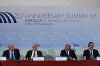 Presidents of Visegrad countries (V4), (L-R) Ivan Gasparovic of Slovakia, Vaclav Klaus of Czech Republic, Pal Schmitt of Hungary and Bronislaw Komorowski of Poland attend a press conference during their summit in Visegrad, 55 km (34.2 miles) north of Visegrad, Hungary on October 08, 2011. ATTILA VOLGYI