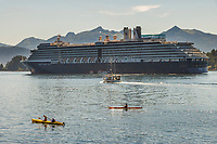 Kayakers and Holland Amercia Cruise ship Oosterdam in Sitka Sound, Baranof Island, southeast, Alaska.