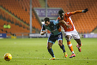 Blackpool's Bright Osayi-Samuel vies for possession with Wycombe Wanderers' Sam Wood<br /> <br /> Photographer Alex Dodd/CameraSport<br /> <br /> Checkatrade Trophy Round 3 Blackpool v Wycombe Wanderers - Tuesday 10th January 2017 - Bloomfield Road - Blackpool<br />  <br /> World Copyright &copy; 2017 CameraSport. All rights reserved. 43 Linden Ave. Countesthorpe. Leicester. England. LE8 5PG - Tel: +44 (0) 116 277 4147 - admin@camerasport.com - www.camerasport.com