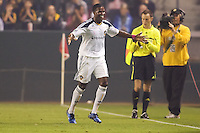 LA Galaxy forward Edson Buddle begins his celebration after scoring his goal. The Colorado Rapids defeated the LA Galaxy 3-2 at Home Depot Center stadium in Carson, California on Saturday October 16, 2010.