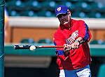 5 March 2009: Washington Nationals' Manager Manny Acta hits infield grounders prior to a Spring Training game against the Detroit Tigers at Joker Marchant Stadium in Lakeland, Florida. The Tigers defeated the visiting Nationals 10-2 in the Grapefruit League matchup. Mandatory Photo Credit: Ed Wolfstein Photo