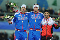 SPEED SKATING: STAVANGER: Sørmarka Arena, 31-01-2016, ISU World Cup, Podium 500m, Ruslan Murashov (RUS), Pavel Kulizhnikov (RUS), Gilmore Junio (CAN), ©photo Martin de Jong