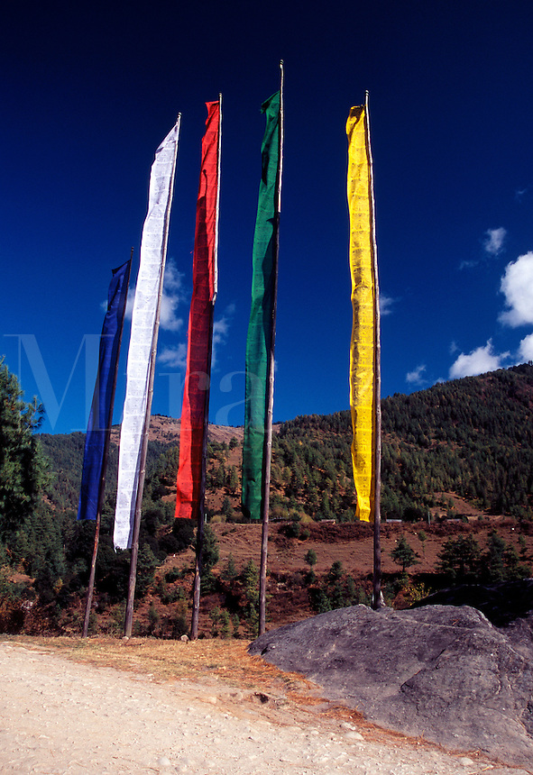 Colorful Buddhist prayer flags in Bhutan.