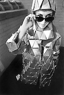 New York City. October, 1966. Eliane Laffont wearing a metal assembled coat, designed by Paco Rabanne.