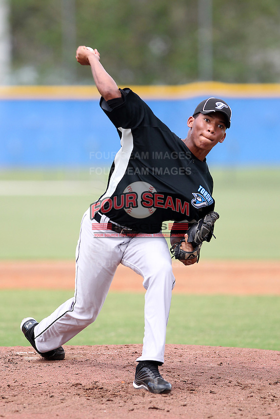Toronto Blue Jays pitcher Jorge Contreras #64 during an Instructional League game against the Philadelphia Phillies at Englebert Complex on October 12, 2011 in Dunedin, Florida.  (Mike Janes/Four Seam Images)