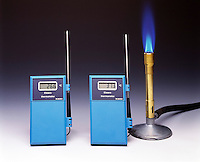 PROPANE FLAME &amp; THERMOMETERS SHOW HEAT TRANSFER<br />