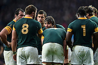South Africa forwards huddle together during a break in play. Rugby World Cup Semi Final between South Africa and New Zealand on October 24, 2015 at Twickenham Stadium in London, England. Photo by: Patrick Khachfe / Onside Images