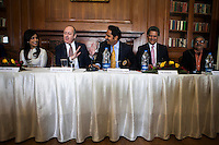 (L-R) Kathryn Deyell (DFAT), Pallavi Sharda (OzFest ambassador), Dr. Lachlan Strahan (Australian Deputy High Commissioner to India), Maharaj Narendra Singh (Maharaj of Jaipur), Nik Senapati (Rio Tinto Managing Director), and Yunus Khimani (of the Jaipur Palace) share a laugh during a press conference on Oz Fest in Raj Mahal Palace hotel, Jaipur, India on 10th January 2013. Photo by Suzanne Lee/DFAT