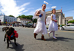 WINSTED, CT - 20 MAY 2017 - 052017JW06.jpg -- Kayla Fontaine and Daisy Leach walk Newman down Main Street during the 81st Annual Pet Parade Saturday afternoon.   Jonathan Wilcox Republican-American