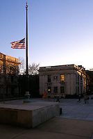 Flag at Half Staff over Woodbridge Hall, Beinecke Plaza at Yale University at the time of Yale President Kingman Brewster's death. Photograph appeared in the cover of Yale Alumni Magazine the next month. Taken on December 3, 1988