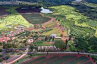 An aerial view of Dole Plantation with a walkable garden maze, Wahiawa, O'ahu.