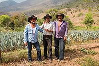 Leonardo, Felipe and Felix at Felix´s ranch and distillery in El Potrero, Oaxaca, Oaxaca, Mexico