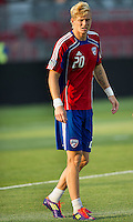 FC Dallas defender/midfielder Brek Shea #20 in action during the warm-up in an MLS game between the FC Dallas and the Toronto FC at BMO Field in Toronto on July 20, 2011..FC Dallas won 1-0.