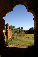 Moorish arch of ruined mining building in the 19th century mining town of Mineral de Pozos, Guanajuato, Mexico..