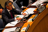 Security Council President and Permanent Representative of Colombia to the UN Nestor Osorio speaks the security council members at the UN headquarter in New York, July 19, 2012.  UN Security Council vetoed a resolution that would impose sanctions against Syria's President Bashar al-Assad if he does not end the use of heavy weapons.  as members of the 15-nation council to block resolutions on Syria. Photo by Eduardo Munoz Alvarez / VIEW.