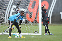 Goalkeeper Bill hamid (28) of D.C. United with head coach Ben Olsen during the pre-season practice at the auxiliary fields at RFK Stadium, Thursday February 28, 2013.