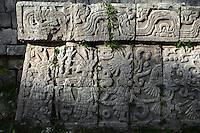 Detail of bas-relief, The Market, 900-1200, Toltec architecture, Chichen Itza, Yucatan, Mexico. Picture by Manuel Cohen