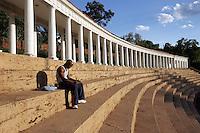 Student at Columns coliseum at UVa