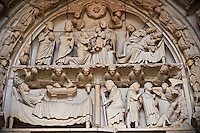 "North Porch, Left Portal (Incarnation Portal), Tympanum- Gifts of the Magi and Dream of the Magi c 1194-1230, from the Cathedral of Chartres, France. At left is the Adoration of the Magi (Matthew 2:1)..Two Magi (crowned) stand at left, holding jars. One has a beard and the other is clean-shaven. The third Magus (bearded) kneels, handing a round object to the Christ Child, who sits on Mary's lap in the middle of the composition. Above them is the star of Bethlehem between two angels holding scrolls..At right is the Dream of the Magi. (Matthew 2:12).Two of the Magi (bearded, still crowned) lie sleeping on a bed at the lower right. The third Magus (beardless) appears behind them, with his eyes closed and his head propped up in his hand. Above is an angel with a scroll, one of the pair of angels who flank the star of Bethlehem at the top of the tympanum..Surrounding the central scene is the Inner archivolt. It contains angels holding candlesticks standing on clouds. Below The Virgin Mary (veiled) lies on a bed that is parallel to the panel plane. She raises one hand. The Christ Child (in swaddling clothes) is in a manger above the bed. Above him are the heads of the ox and the ass. They are probably a reference to Old Testament verses thought to be prophecies of the coming of the Messiah. Isaiah 1:3 says, ""The ox knows his owner and the ass his maker's crib."" There is a similar verse in Habakkuk. The apocryphal Protevangelium of James mentions only the ass. The Gospel of Pseudo-Matthew also says that an ox and an ass worshiped the Christ Child in the manger..Above are angels leaning out of a cloud and holding a long scroll.. A UNESCO World Heritage Site. ."
