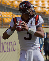 Virginia Tech quarterback Logan Thomas. The Pitt Panthers defeated the Virginia Tech Hokies 35-17 at Heinz field in Pittsburgh, PA on September 15, 2012.
