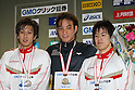(L to R) .Hiromasa Sakimoto, .Ryo Tateishi, .Ryo Kobayashi, .FEBRUARY 11, 2012 - Swimming : .The 53rd Japan Swimming Championships (25m) .Men's 100m Breaststroke Victory Ceremony .at Tatsumi International Swimming Pool, Tokyo, Japan. .(Photo by YUTAKA/AFLO SPORT) [1040]