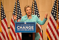 DENVER, CO - August 27, 2008: United States Senator Hillary Clinton releases her delegates at the Denver Convention Center in downtown Denver during the 2008 Democratic National Convention. Clinton encouraged her delegates to vote for whomever they wanted but said she had cast her vote for Barack Obama.