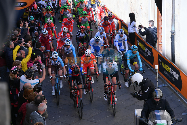 The start of stage 2 of the 2017 Tirreno Adriatico running 229km from Camaiore to Pomarance, Italy. 9th March 2017.<br /> Picture: La Presse/Gian Mattia D'Alberto | Cyclefile<br /> <br /> <br /> All photos usage must carry mandatory copyright credit (&copy; Cyclefile | La Presse)